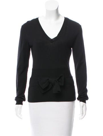 Valentino Bow-Accented Wool Top None