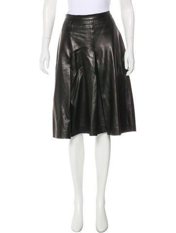 Valentino Leather A-Line Skirt None
