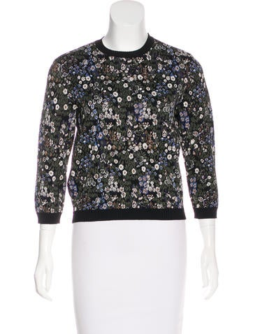 Valentino Floral Patterned Knit Sweater None