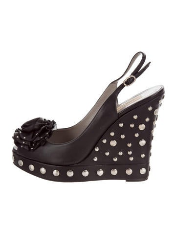 Valentino Floral Studded Wedges None