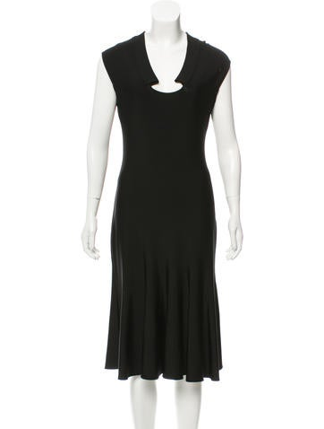 Valentino Cap Sleeve Midi Dress None