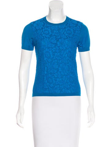 Valentino Lace-Paneled Wool Top None