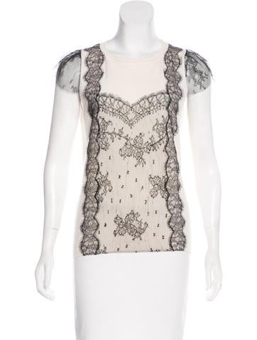 Valentino Lace-Trimmed Knit Top None