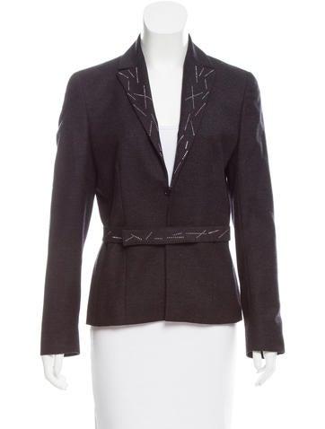 Valentino Embellished Wool-Cashmere Blazer None