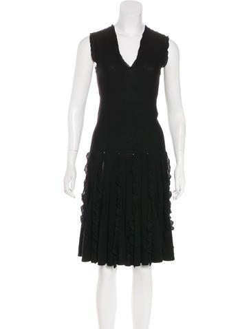 Valentino Wool Ruffle Dress None
