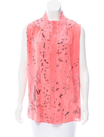 Valentino Sleeveless Silk Top None