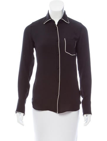 Valentino Silk Button-Up Top w/ Tags None
