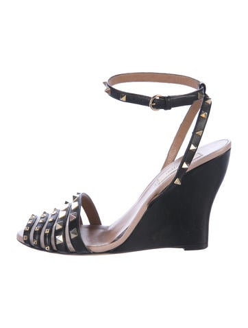 Valentino Rockstud Leather Wedges None