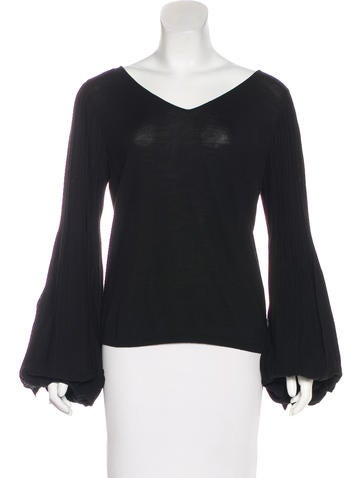 Valentino Wool Bishop Sleeve Top w/ Tags None