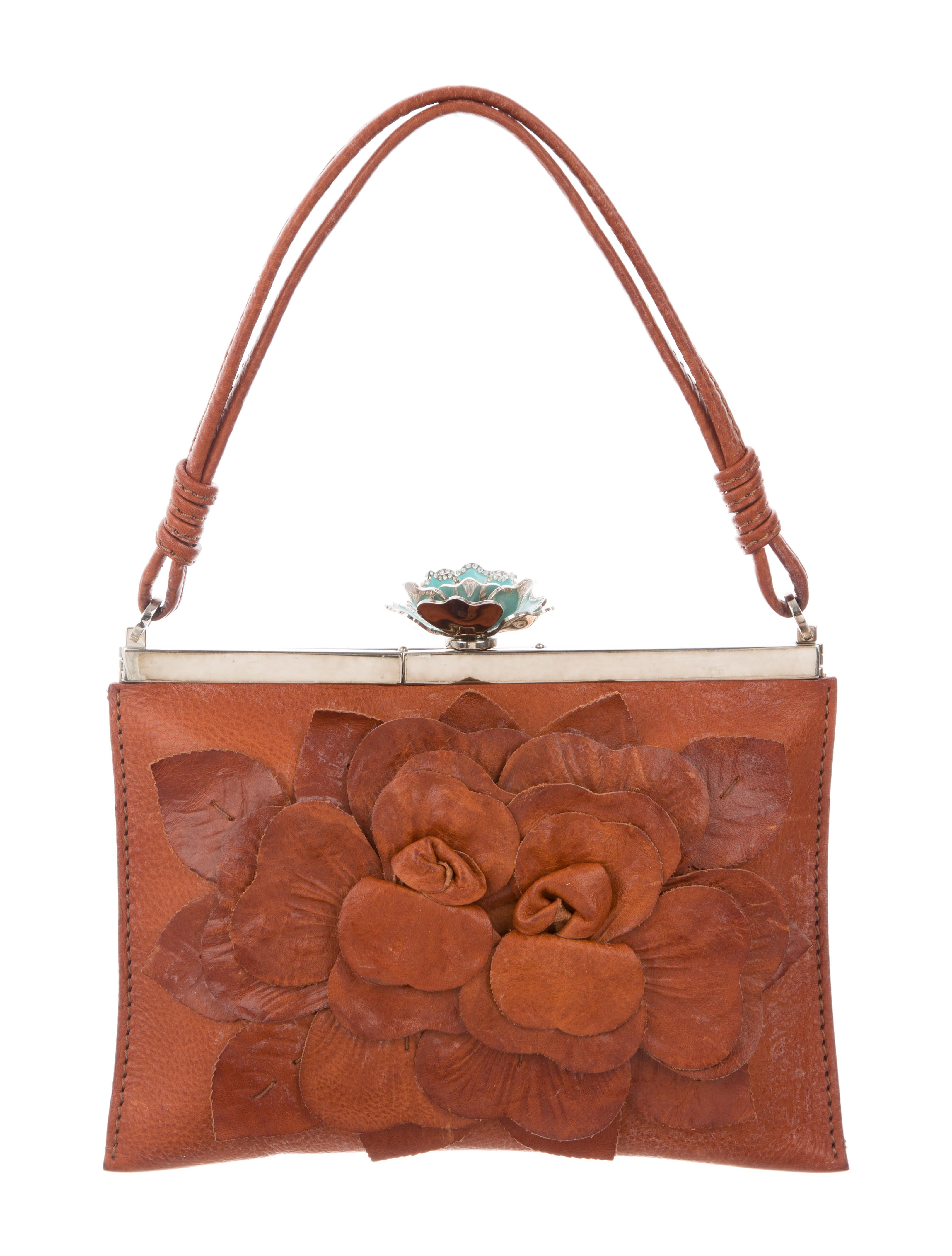 Valentino Leather Floral Appliquu00e9 Bag - Handbags - VAL79518 | The RealReal