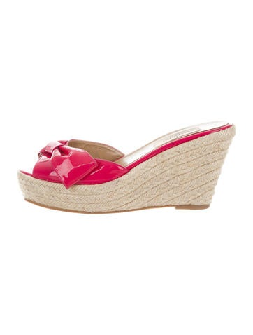 Valentino Patent Leather Bow Espadrille Wedges None