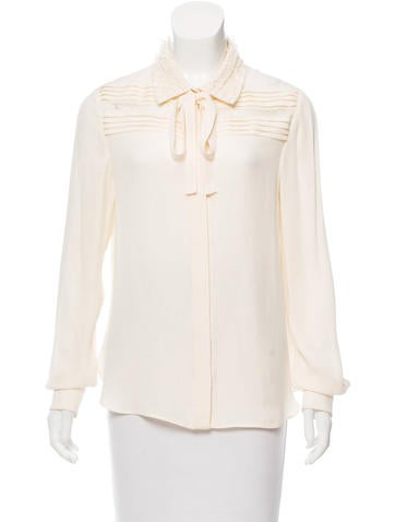 Valentino Lace-Accented Silk Blouse None