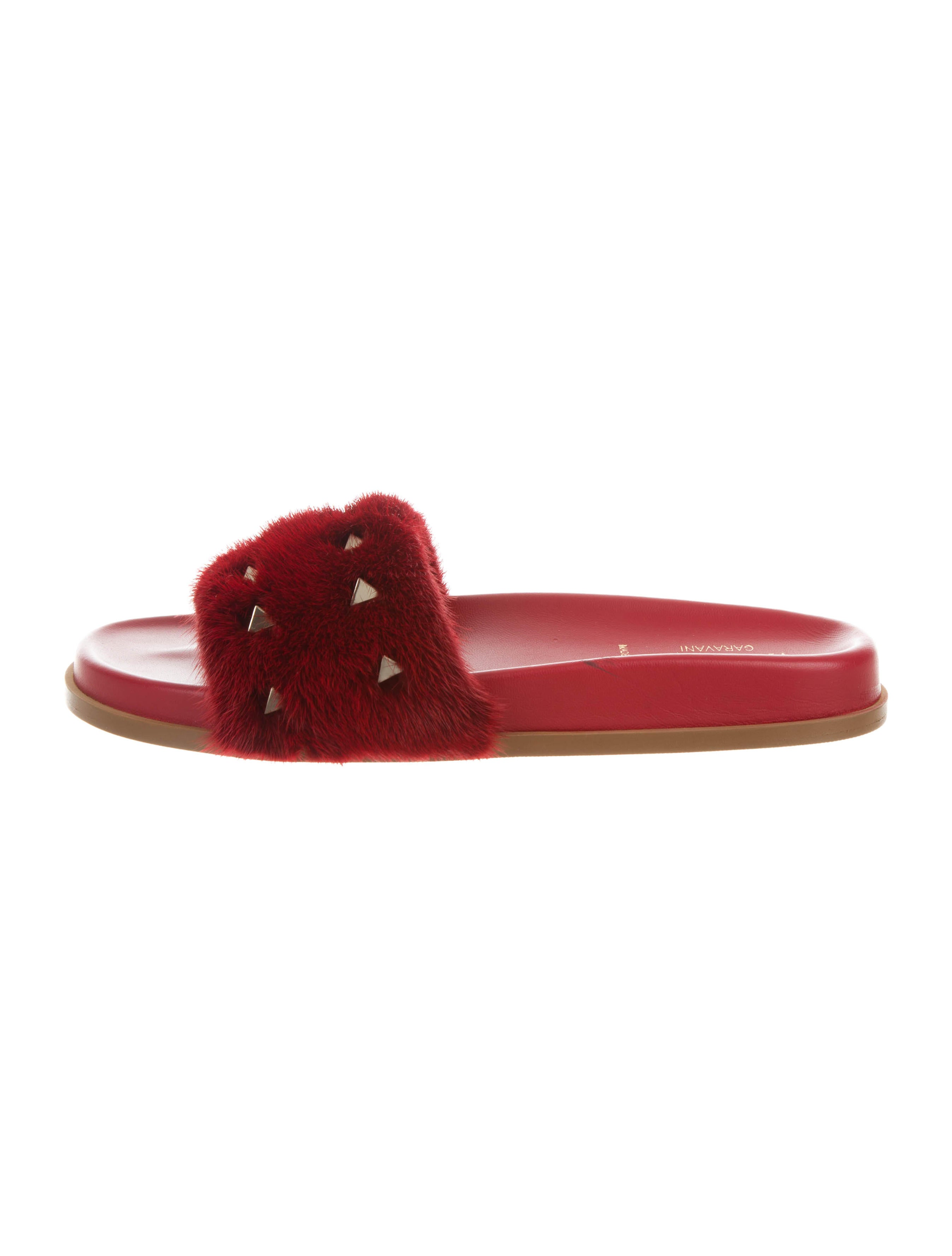 Valentino Mink-Trimmed Rockstud Sandals cheap price store bOn704ERAo