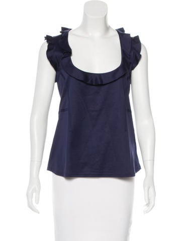 Valentino Ruffle-Trimmed Sleeveless Top None