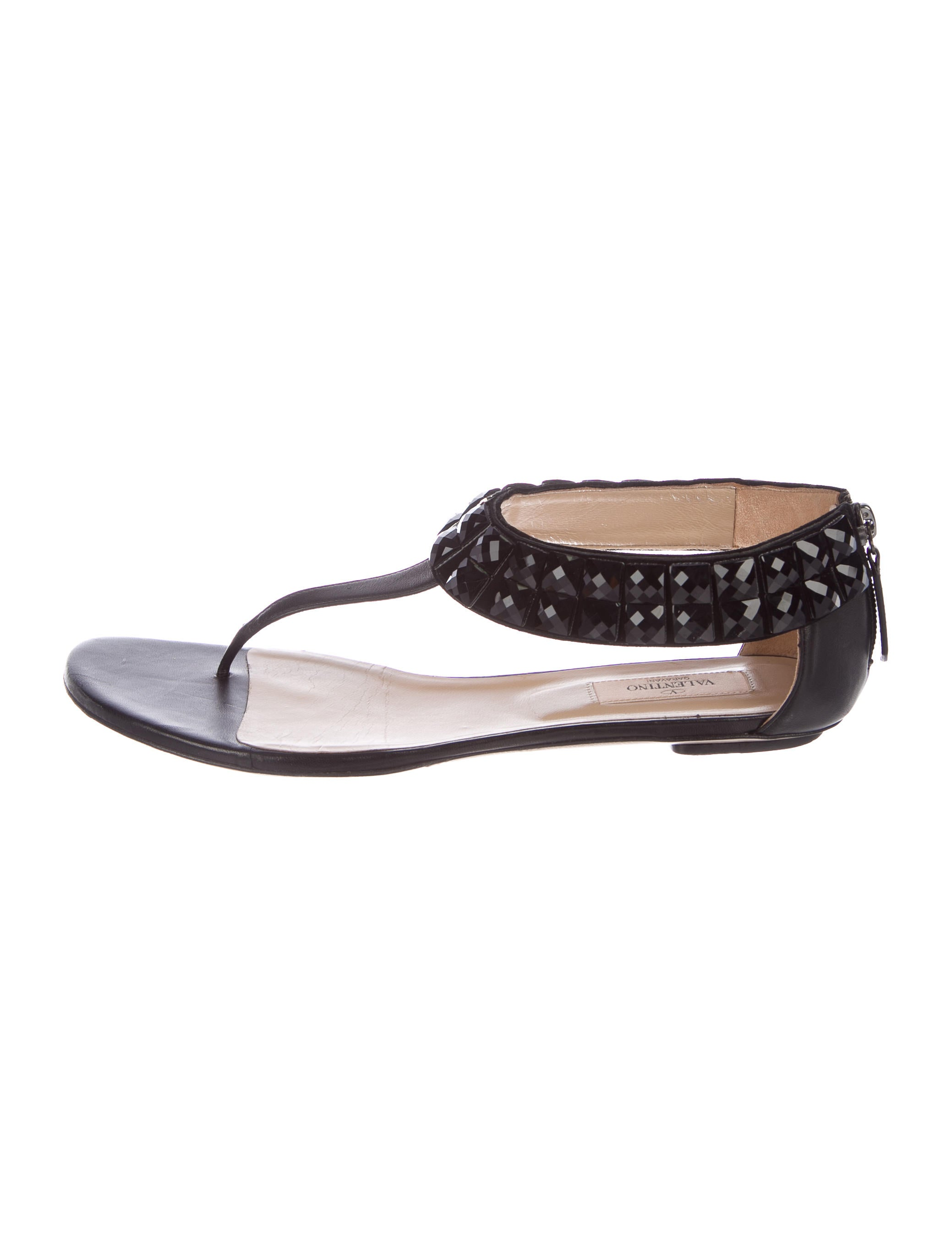 Valentino Jewel-Embellished Thong Sandals buy cheap sale G3vExpFT5