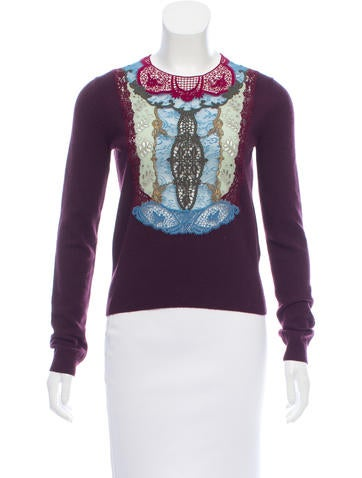 Valentino Embroidered Wool & Cashmere Sweater None