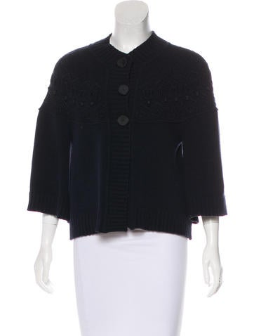 Valentino Embroidered Wool-Blend Cardigan None