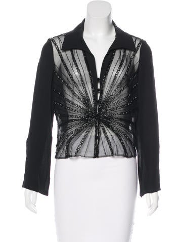 Valentino Sheer Embellished Top None