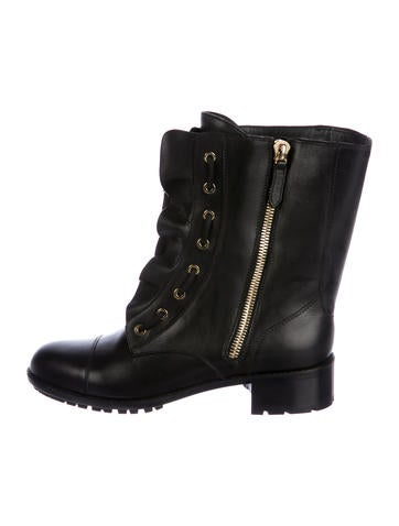 Valentino Lace-Up Leather Booties None