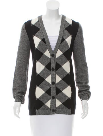 Valentino Patterned Wool & Cashmere Cardigan None
