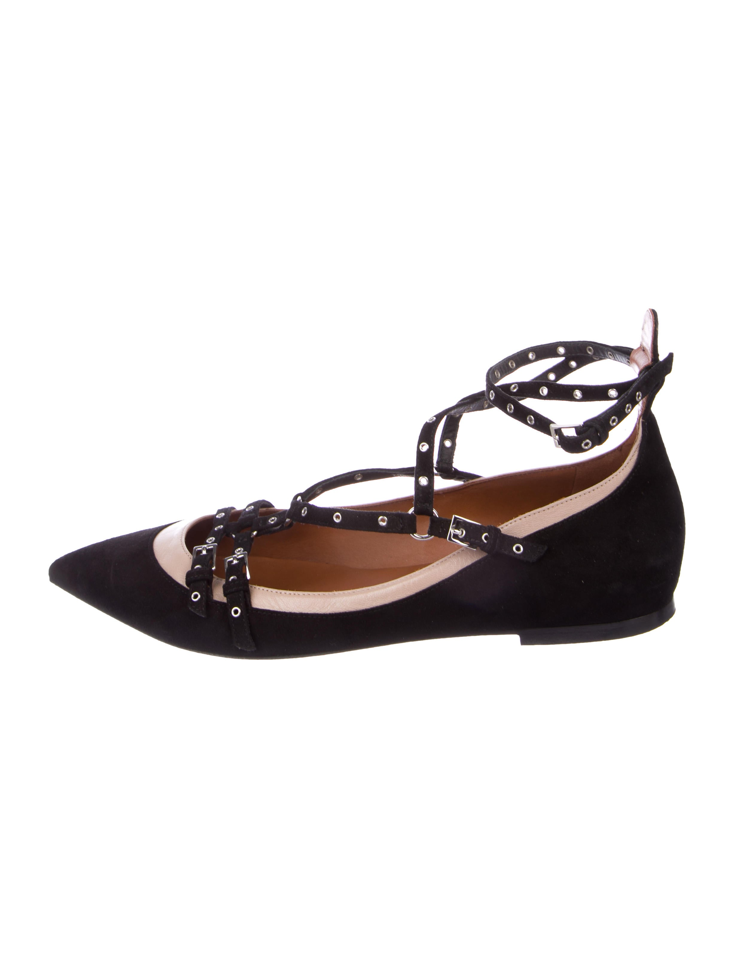 clearance 100% original sale 100% guaranteed Valentino Suede Grommet-Accented Flats XaX7nugE