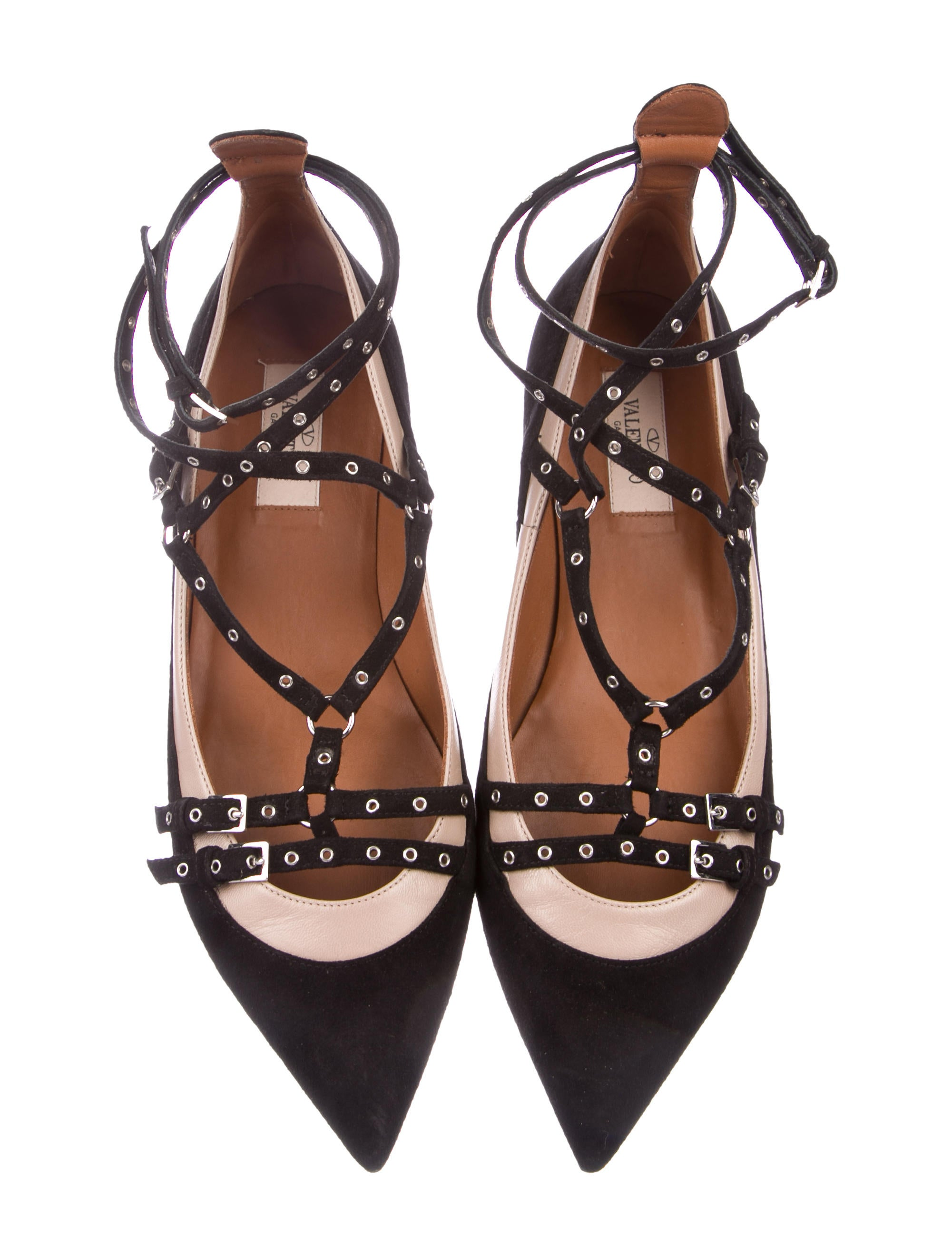 Valentino Suede Grommet-Accented Flats low price fee shipping cheap online tvRFIdodPy