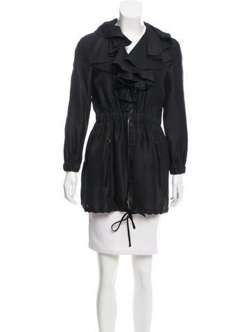Valentino Ruffle-Trimmed Silk Coat None