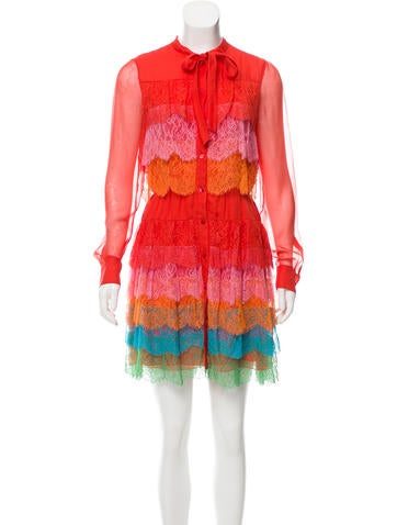 Valentino Lace-Accented Silk Dress None