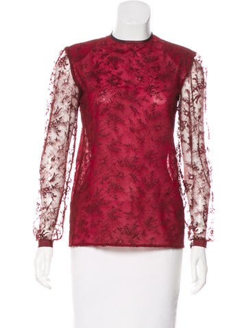 Valentino Lace Long Sleeve Top None