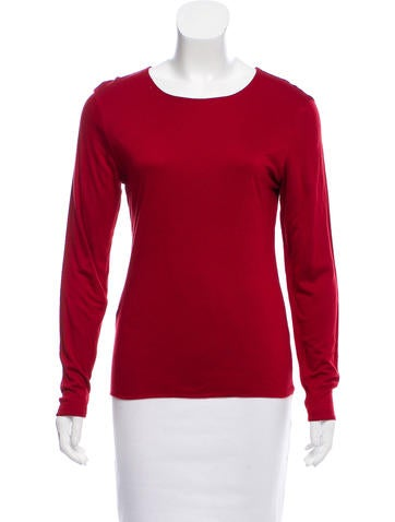 Valentino Long Sleeve Scoop Neck Top None
