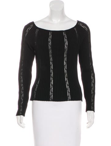 Valentino Lace-Accented Long Sleeve Top None