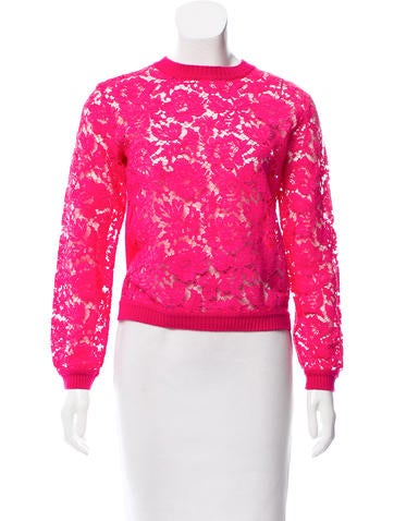 Valentino Guipure Lace-Accented Wool Top None