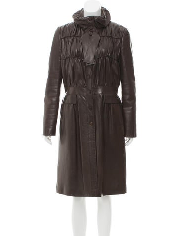Valentino Long Leather Coat None