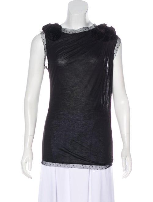 Valentino Vintage Lace-Trimmed Top black
