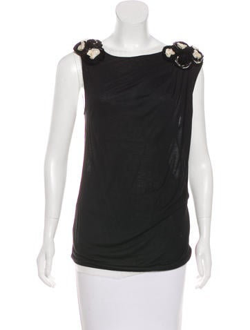 Valentino Sleeveless Rose-Accented Top None