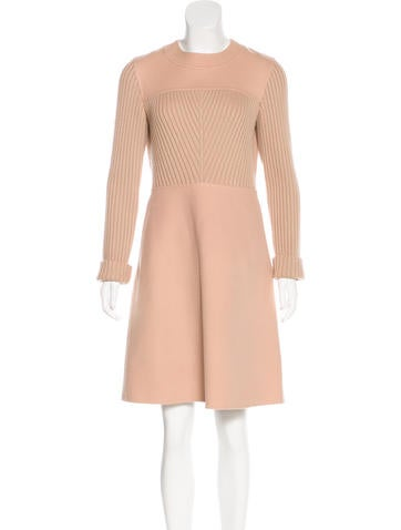Valentino Wool Long Sleeve Dress None