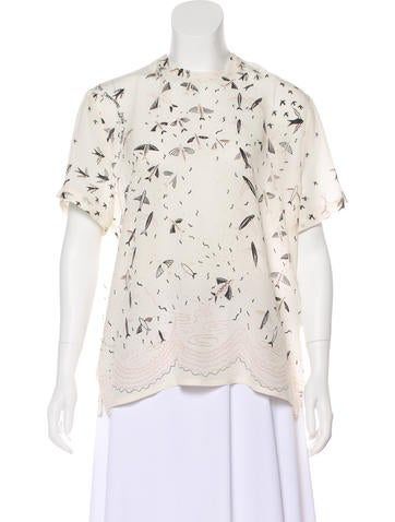 Valentino Silk Swallow Metamorphosis Blouse None