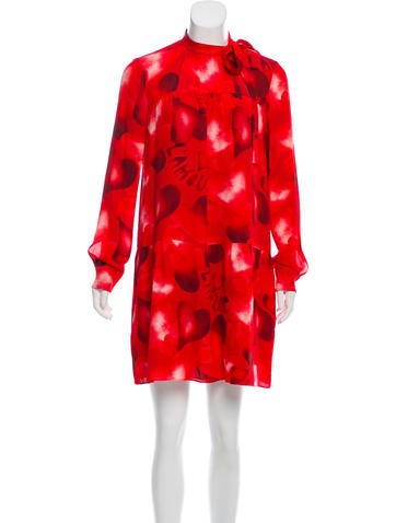 Valentino Silk Heart Print Dress None