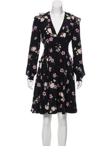 Valentino Silk Floral Print Dress None