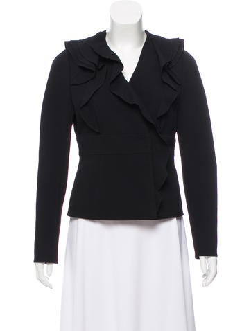 Valentino Long Sleeve Ruffle-Trimmed Jacket None