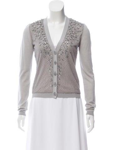 Valentino Embellished Cashmere-Blend Cardigan None
