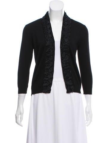 Valentino Silk-Paneled Wool Cardigan None