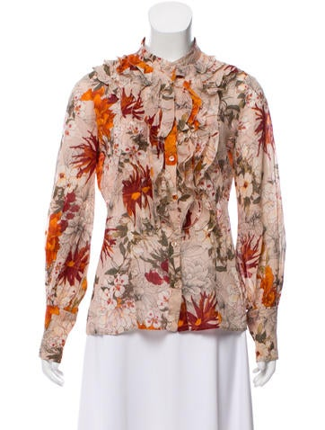 Valentino Floral Button-Up Top None