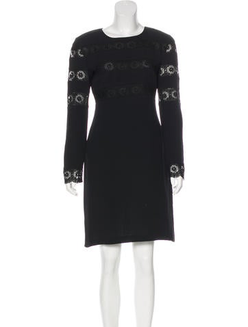 Valentino Lace-Trimmed Silk Dress None