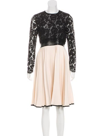 Valentino Plisse Wool Dress None