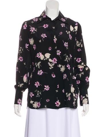 Valentino Floral Silk Button-Up None