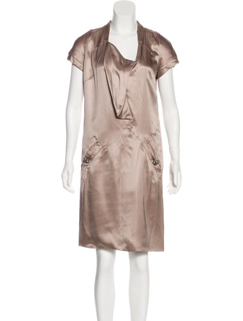 Valentino Satin Midi Dress w/ Tags silver