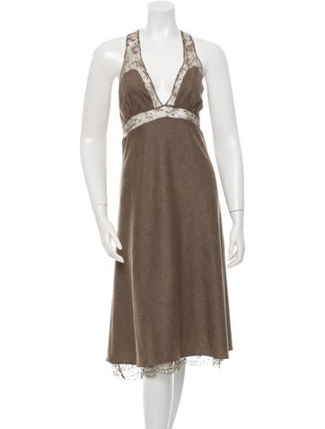 Vanessa Bruno Wool Lace-Trimmed Dress None