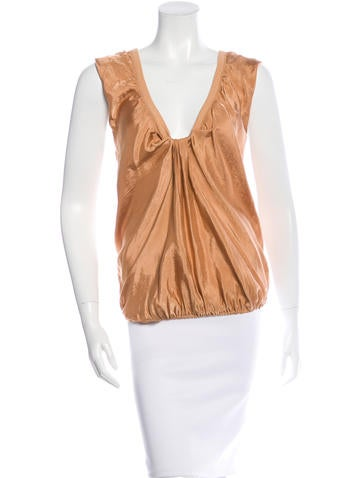 Vanessa Bruno Ruched V-Neck Top None