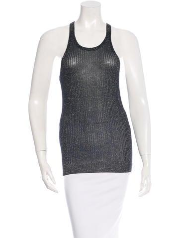 Vanessa Bruno Metallic Sleeveless Knit Top None